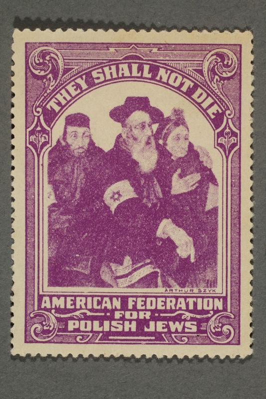 2017.227.40 front US poster stamp encouraging people to donate to a humanitarian organization