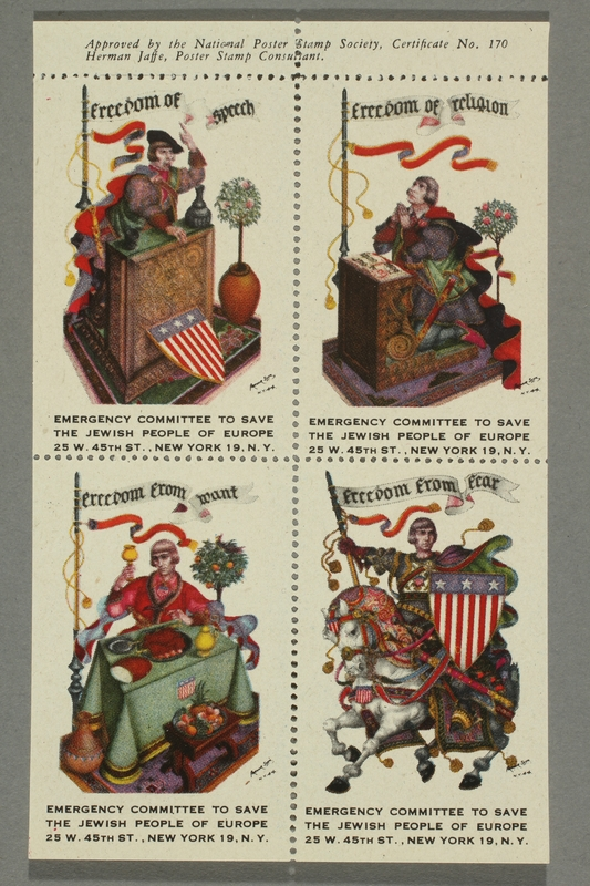 2017.227.42 front Set of US poster stamps depicting the Four Freedoms