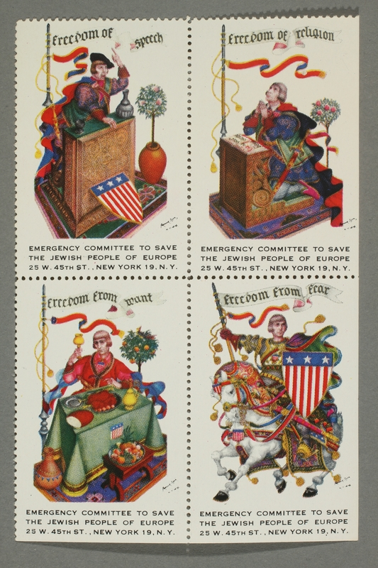 2017.227.43 front Set of US poster stamps depicting the Four Freedoms