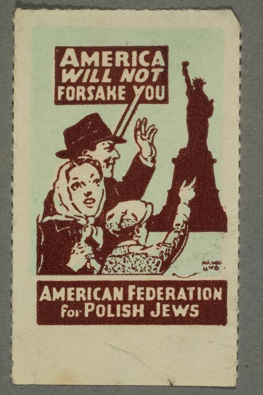 2017.227.44 front US poster stamp addressing Polish Jews