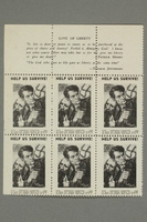 2017.227.45 front Block of US poster stamps encouraging people to donate to a humanitarian organization  Click to enlarge