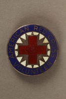 2017.242.3 front American Red Cross Volunteer pin  Click to enlarge