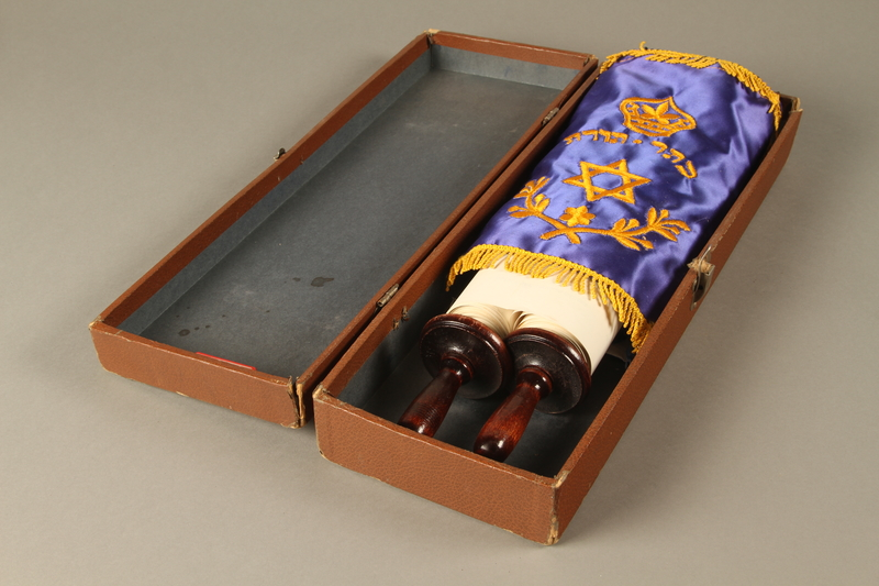 2017.242.6 a-d open Torah scroll with cover and box