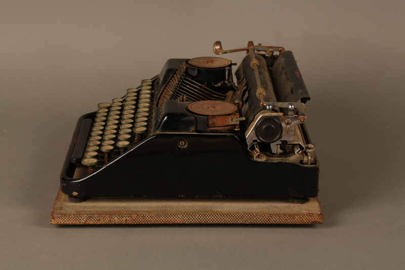 2017.296.2 left side Hebrew typewriter used in a DP camp