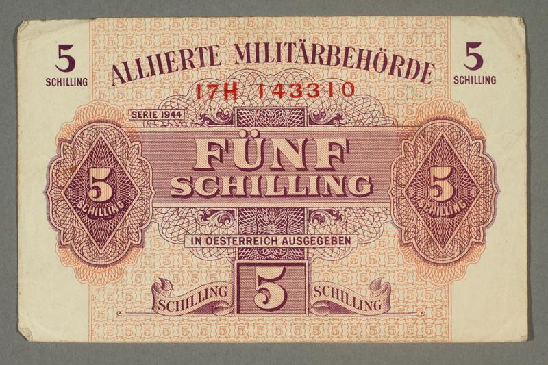 2017.255.2 front 5 Schilling Austrian scrip