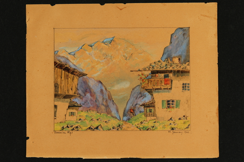 2017.257.3 a front Watercolor of the Bavarian Alps