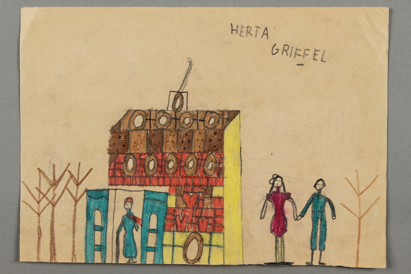 2016.526.2 front Drawing of a house and people created by a Jewish Austrian child