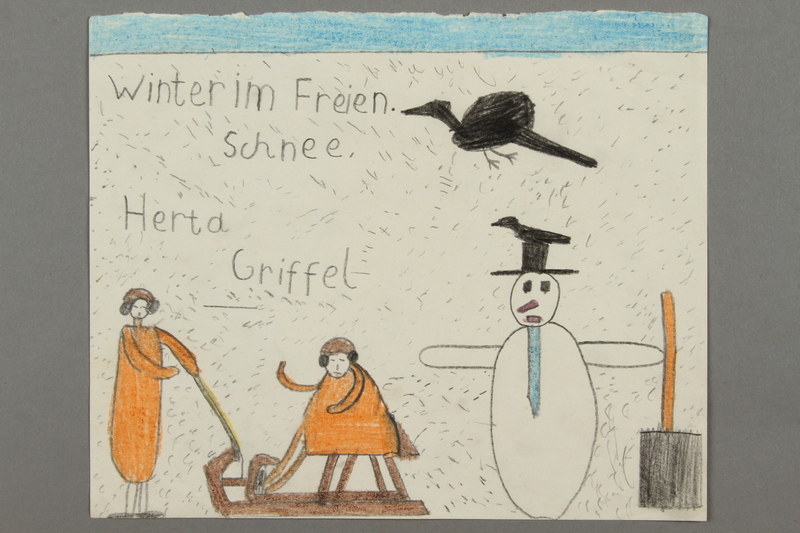 2016.526.3 front Drawing of a winter scene created by a Jewish Austrian child