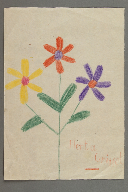 2016.526.4 front Drawing of flowers created by a Jewish Austrian child
