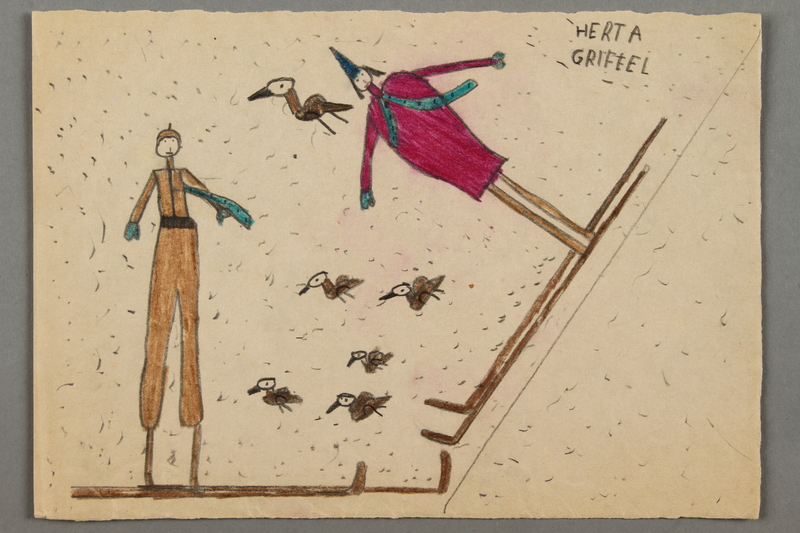 2016.526.5 front Drawing of two skiers created by a Jewish Austrian child