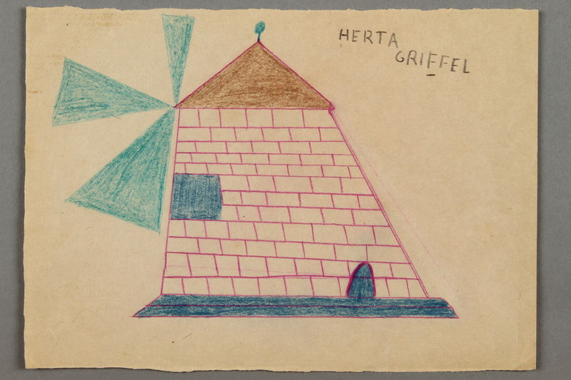 2016.526.6 front Drawing of a windmill created by a Jewish Austrian child