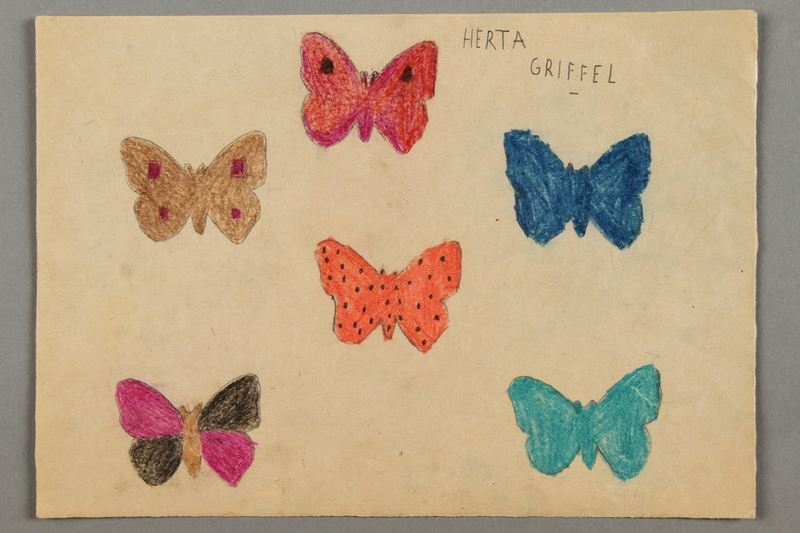 2016.526.7 front Drawing of butterflies created by a Jewish Austrian child
