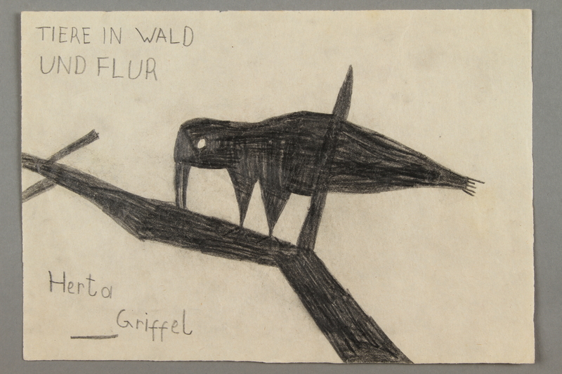 2016.526.8 front Drawing of a bird created by a Jewish Austrian child