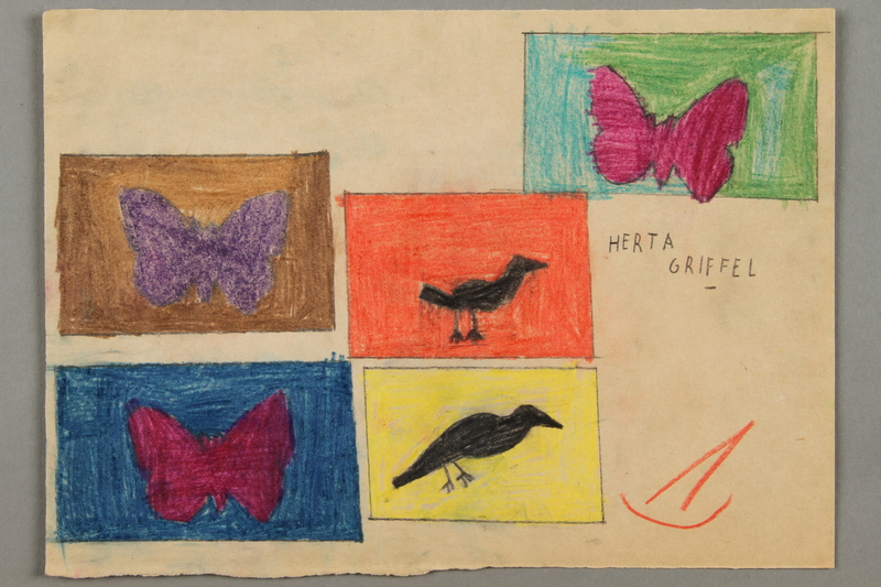 2016.526.9 front Drawing of birds and butterflies created by a Jewish Austrian child