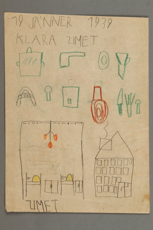 2016.527.4 front Drawing of a house and cookware created by a Jewish Austrian child