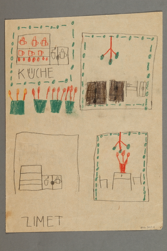 2016.527.4 back Drawing of a house and cookware created by a Jewish Austrian child
