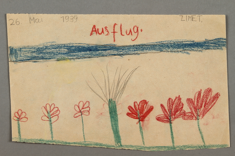 "2016.527.5 front Drawing of flowers entitled ""Ausflug"" (Excursion) created by a Jewish Austrian child"