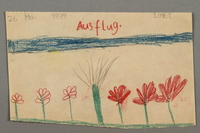 "2016.527.5 front Drawing of flowers entitled ""Ausflug"" (Excursion) created by a Jewish Austrian child  Click to enlarge"