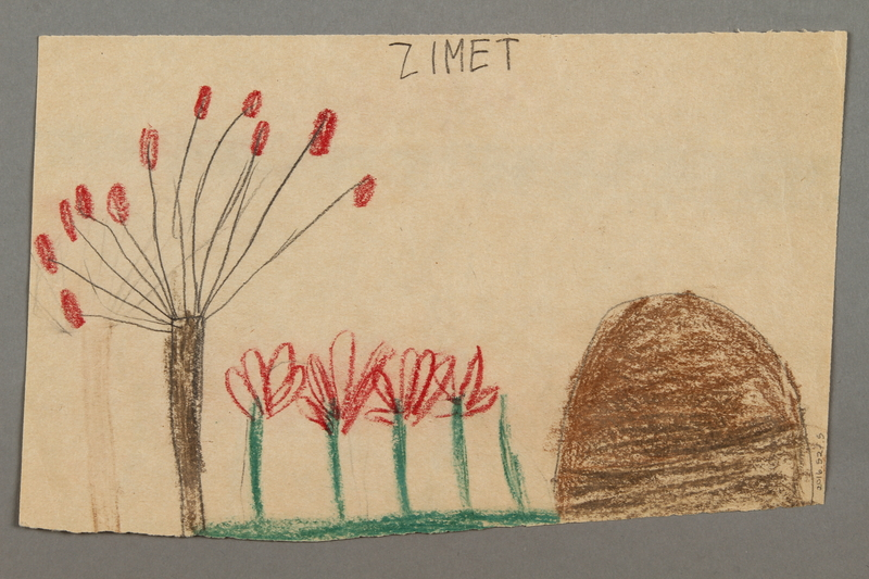 "2016.527.5 back Drawing of flowers entitled ""Ausflug"" (Excursion) created by a Jewish Austrian child"