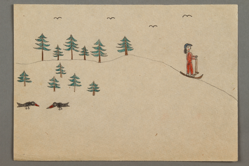 2016.527.6 front Drawing of a skier, trees, and birds created by a Jewish Austrian child