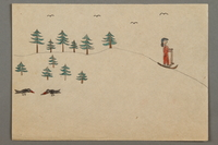 2016.527.6 front Drawing of a skier, trees, and birds created by a Jewish Austrian child  Click to enlarge