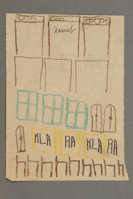 2016.527.8 front Drawing of windows and doors created by a Jewish Austrian child
