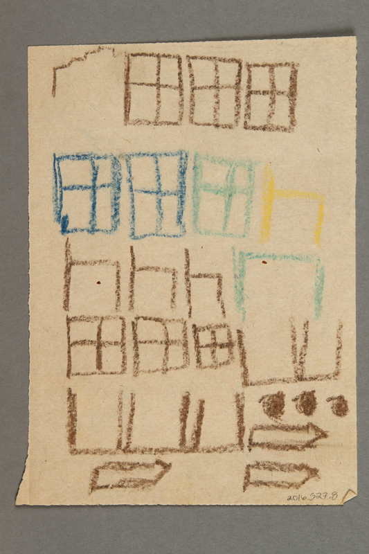 2016.527.8 back Drawing of windows and doors created by a Jewish Austrian child