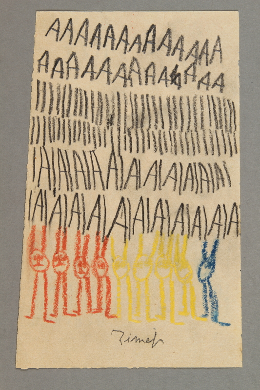 """2016.527.9 front Drawing of animals and examples of the letter """"A"""" created by a Jewish Austrian child"""
