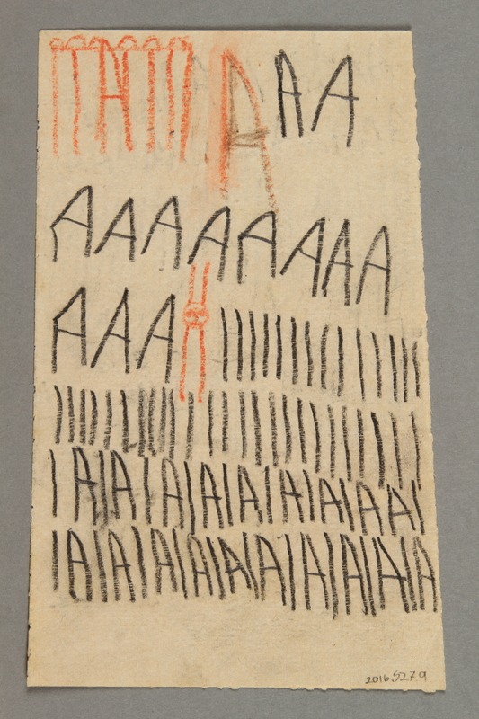 """2016.527.9 back Drawing of animals and examples of the letter """"A"""" created by a Jewish Austrian child"""