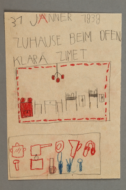2016.527.10 front Double-sided drawing of a house interior and cookware created by a Jewish Austrian child