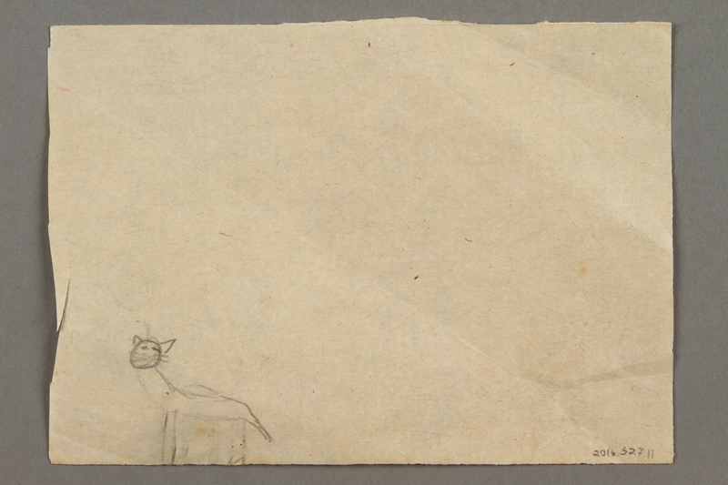2016.527.11 back Double-sided drawing of people, a house and a cat created by a Jewish Austrian child