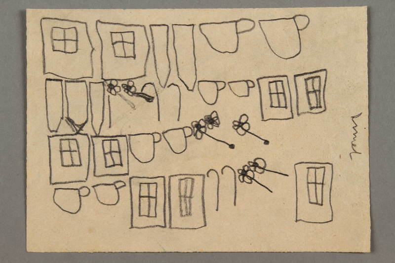 2016.527.12 front Drawing of windows, flowers and teacups created by a Jewish Austrian child