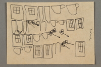 2016.527.12 front Drawing of windows, flowers and teacups created by a Jewish Austrian child  Click to enlarge