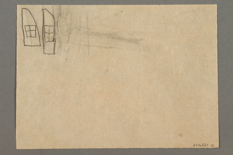 2016.527.12 back Drawing of windows, flowers and teacups created by a Jewish Austrian child