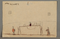 2016.527.13 front Drawing of two people by a table created by a Jewish Austrian child  Click to enlarge
