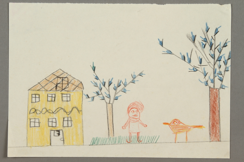 2016.527.14 front Drawing of a house with trees, grass, a bird, and person created by a Jewish Austrian child