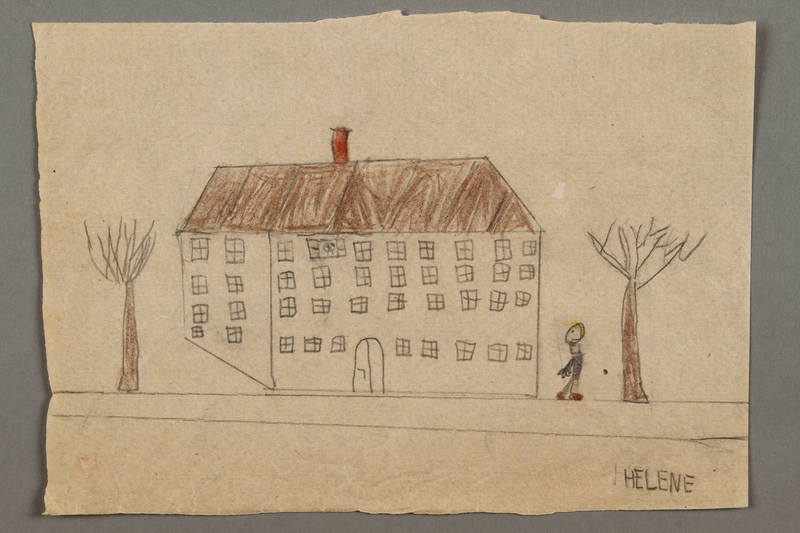 2016.527.15 front Drawing of a house with trees and person created by a Jewish Austrian child