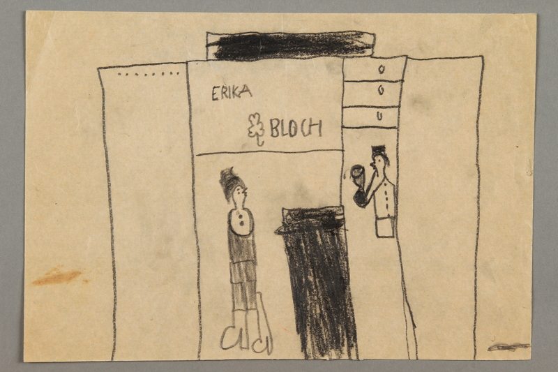 2016.527.16 front Drawing of two people in a store created by a Jewish Austrian child