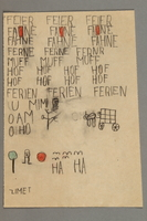 2016.527.17 front Paper with sketches, writing and arithmetic exercises created by a Jewish Austrian child  Click to enlarge