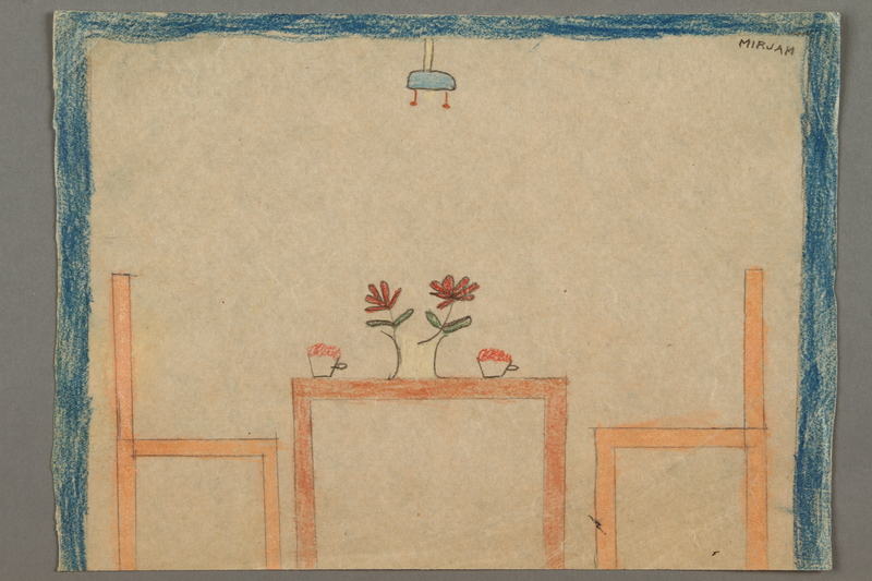 2016.527.18 front Drawing of a table and chairs created by a Jewish Austrian child