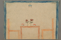 2016.527.18 front Drawing of a table and chairs created by a Jewish Austrian child  Click to enlarge