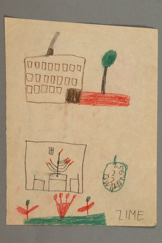 2016.527.19 front Double-sided drawings of a house, clock and market scene created by a Jewish Austrian child