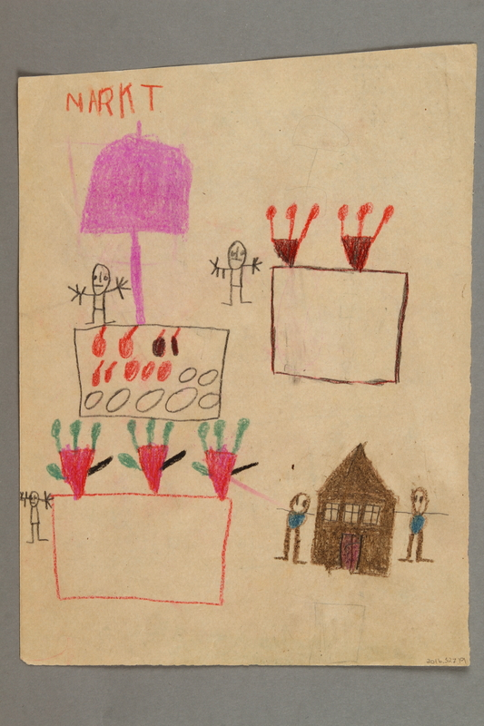 2016.527.19 back Double-sided drawings of a house, clock and market scene created by a Jewish Austrian child