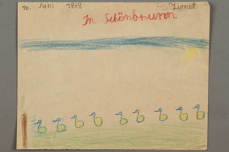 2016.527.20 front Drawing of ducks and birds on the grounds of Schonbrunn Palace in Vienna created by a Jewish Austrian child