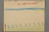 2016.527.20 front Drawing of ducks and birds on the grounds of Schonbrunn Palace in Vienna created by a Jewish Austrian child  Click to enlarge