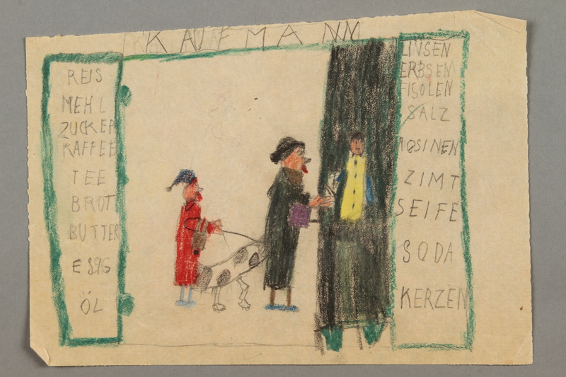2016.527.21 front Drawing of a grocery store with a list of food items created by a Jewish Austrian child
