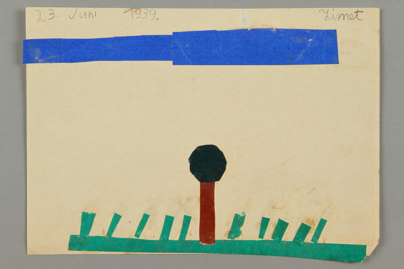 2016.527.22 front Paper collage depicting grass, sky, and a tree created by a Jewish Austrian child