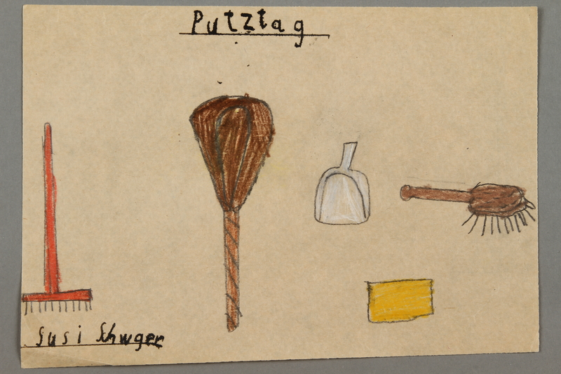 "2016.527.24 front Drawing of cleaning items entitled ""Putztag"" (Cleaning Day) created by a Jewish Austrian child"