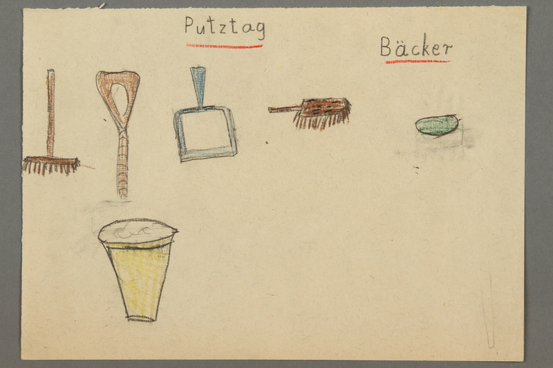 """2016.527.25 front Drawing of cleaning items entitled """"Putztag"""" (Cleaning Day) created by a Jewish Austrian child"""