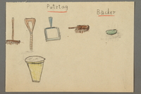 """2016.527.25 front Drawing of cleaning items entitled """"Putztag"""" (Cleaning Day) created by a Jewish Austrian child  Click to enlarge"""
